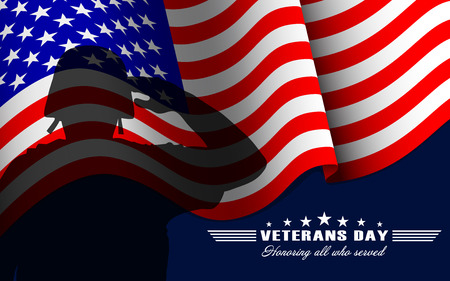 Illustration pour Vector Veterans Day background with saluting soldier, US national flag and lettering. Template for Veterans Day. - image libre de droit