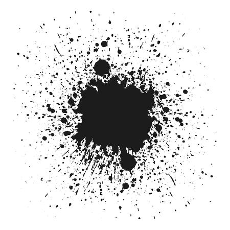 Ilustración de Black monochrome ink or paint blots grunge background. Texture Vector. Dust overlay distress grain. Black splatter, dirty, poster for your design. Isolated on white background. Vector illustration. - Imagen libre de derechos