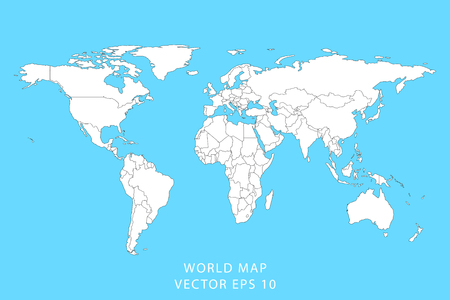 Illustration pour Detailed world map with borders of states. Isolated world map. Vector illustration. - image libre de droit