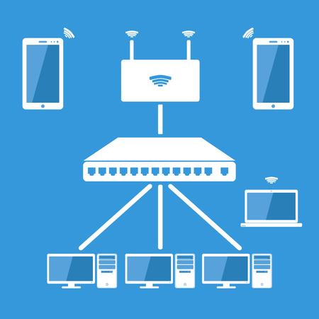 Ilustración de Computer network,Local area network concept - Imagen libre de derechos