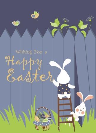 Illustration pour Easter bunnies and easter eggs - image libre de droit
