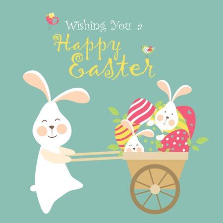Illustration pour Easter bunnies and easter eggs. Vector illustration - image libre de droit