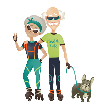 Illustrazione per Cartoon active old couple, man and woman doing sport. Vector illustration - Immagini Royalty Free