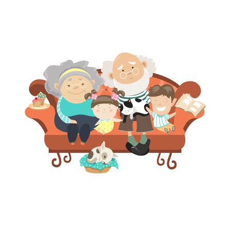 Illustration for Grandparents and grandchildren. Happy grandparents with their grandchildren. Vector illustartion - Royalty Free Image