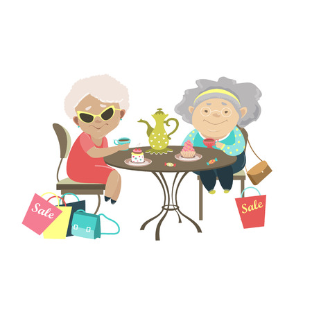 Illustration pour Two old women talking in a cafe after shopping. Vector isolated illustration - image libre de droit