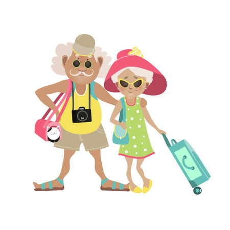 Photo pour Illustration of an Elderly Couple Traveling Together with Luggage in Tow. Vector illustration - image libre de droit