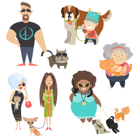 Ilustración de Cute pets with their owners. Vector flat illustration - Imagen libre de derechos