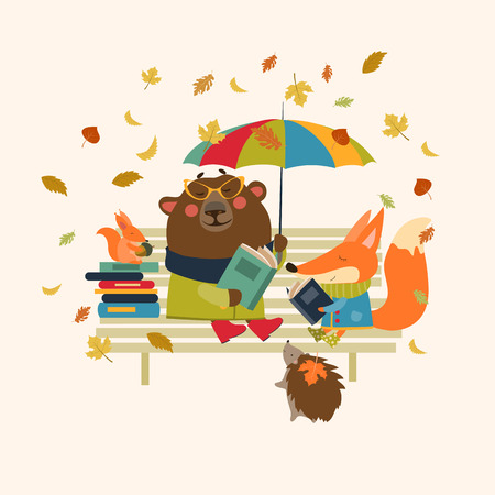 Illustration pour Fox,bear, hedgehog and little squirrel reading books on bench. Vector isolated illustration - image libre de droit