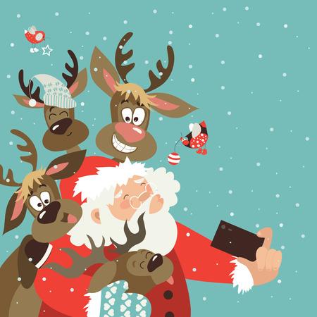 Ilustración de Santa and reindeers take a selfie. Vector illustration - Imagen libre de derechos