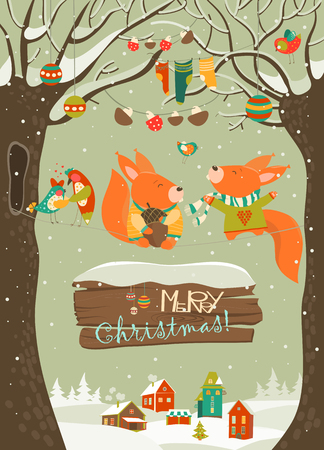 Illustration pour Cute squirrels celebrating Christmas. - image libre de droit