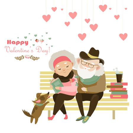 Illustration pour Old couple in love sitting on bench. - image libre de droit