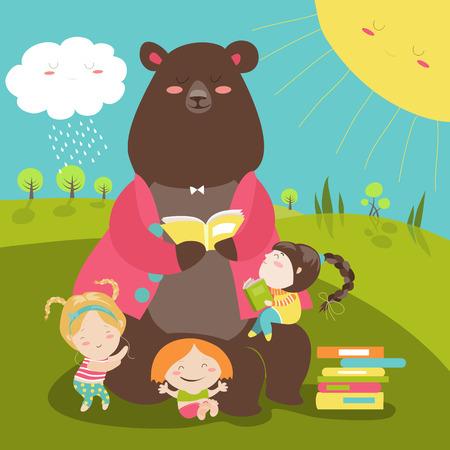 Illustration pour Cute bear reading book for girls. illustration - image libre de droit