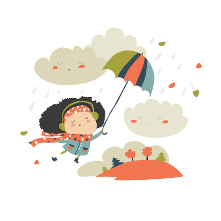 Girl with umbrella playing with the fall leaves and rain. Vector illustration