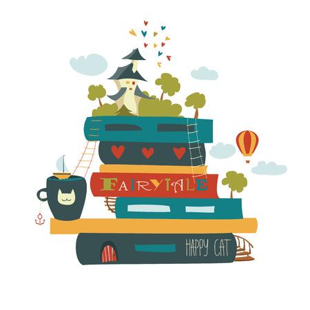 Illustration pour Fairytale concept with book and medieval castle. Vector illustration - image libre de droit