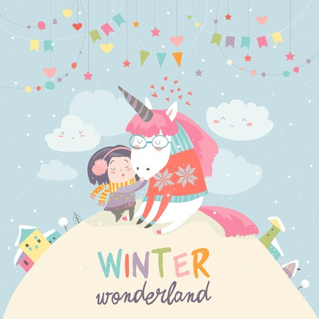 Illustration for Cute girl hugging unicorn. Winter wonderland - Royalty Free Image