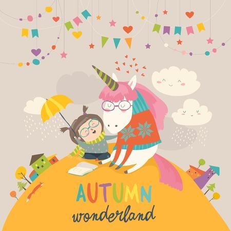 Illustration for Cute girl hugging unicorn, Autumn wonderland design - Royalty Free Image