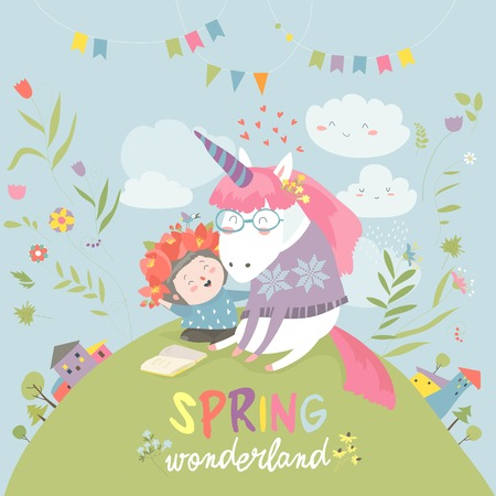 Illustration for Cute girl hugging unicorn. Spring wonderland - Royalty Free Image