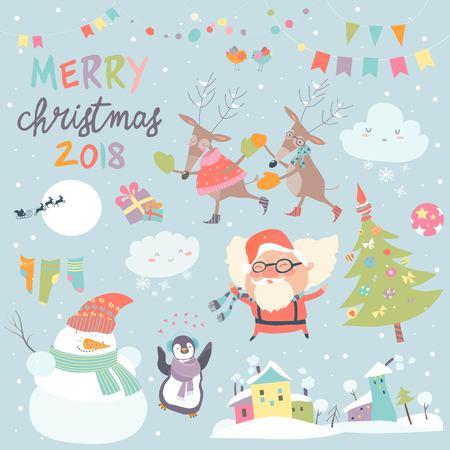 Illustration pour Set of Christmas characters and icons - image libre de droit