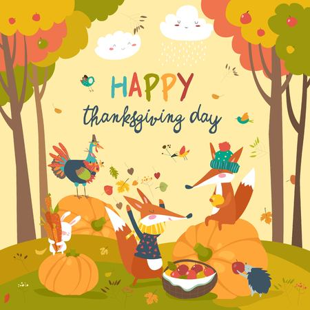 Ilustración de Cute animals celebrating Thanksgiving day - Imagen libre de derechos