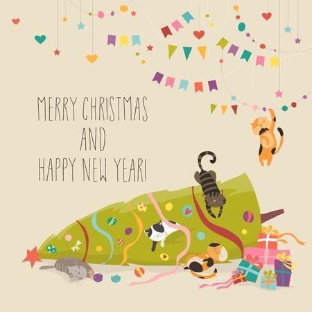 Ilustración de Crazy cats with Christmas tree. - Imagen libre de derechos