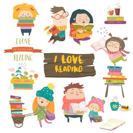 Illustration pour Set of cartoon children reading books. - image libre de droit