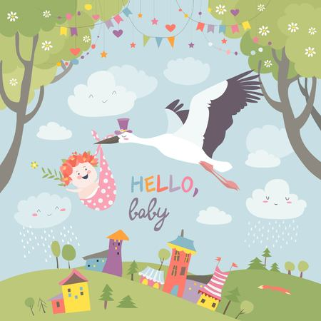 Illustration pour Stork bird with baby illustration. - image libre de droit