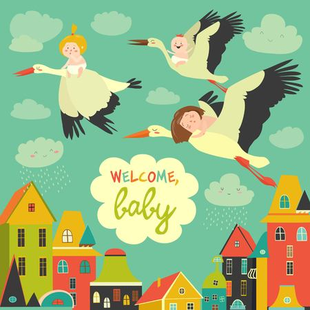 Illustration pour Storks with babies - image libre de droit