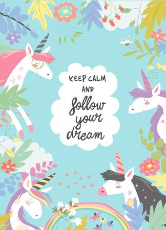 Illustrazione per Cute magic frame composed of unicorns and flowers - Immagini Royalty Free