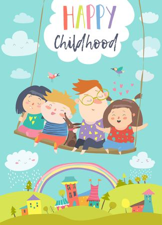 Illustration pour Happy kids flying on a swing card illustration - image libre de droit