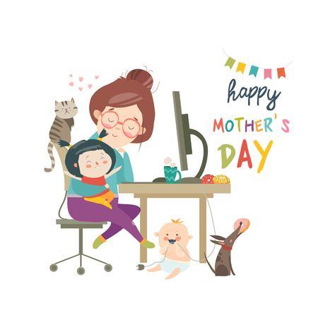 Ilustración de Working at home mother, freelancer with two kids illustration. - Imagen libre de derechos