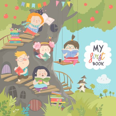 Illustrazione per Happy children reading books in the treehouse - Immagini Royalty Free