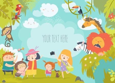 Ilustración de Happy children in zoo with wild african animals. Vector illustration - Imagen libre de derechos