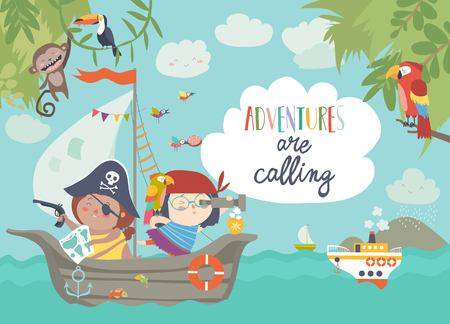 Illustration pour Cute pirates sailing in their ship. Vector illustration - image libre de droit