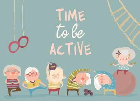 Ilustración de Cartoon elderly people doing exercises. Vector illustration - Imagen libre de derechos