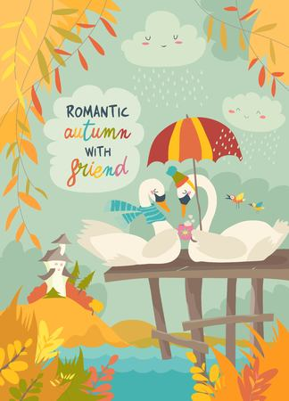 Illustration for Cute romantic swans in autumn park. Vector illustration - Royalty Free Image
