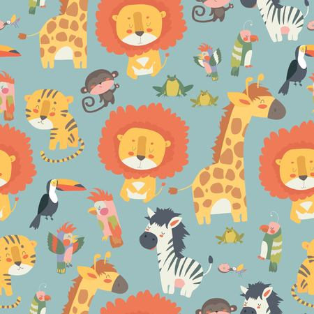 Illustration pour Happy jungle animals seamless pattern - image libre de droit