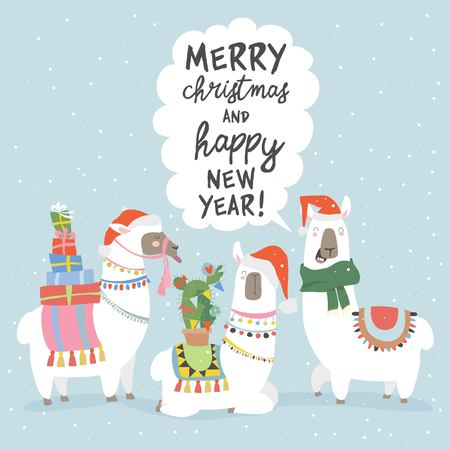 Illustration for Christmas card with llama. Merry Christmas card - Royalty Free Image