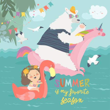 Illustration pour Cute girls and polar bear with a swimming circles - image libre de droit