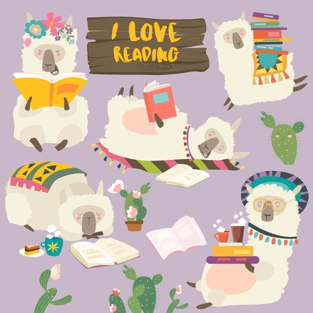 Illustration for Funny cartoon llamas alpaca reading books. Vector illustration - Royalty Free Image
