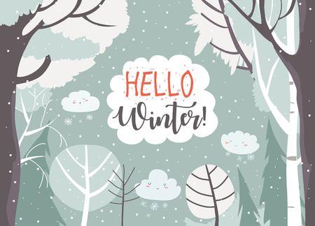 Illustration pour Cartoon frame with winter forest. Vector illustration - image libre de droit