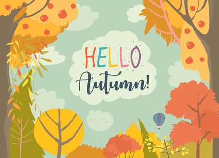 Illustration pour Cartoon frame with autumn forest. Hello autumn - image libre de droit