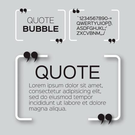 Illustration pour Quote bubble. Empty Citation text box template. Quote blank. - image libre de droit