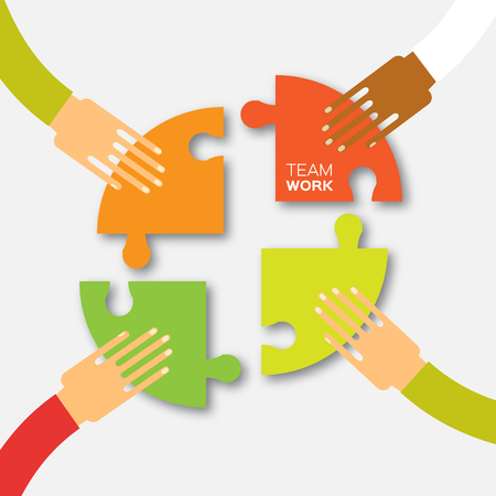 Illustration pour Four hands together team work. 4 Hands putting circle puzzle pieces. Teamwork and business concept. Hands of different colors, cultural and ethnic diversity. Vector illustration - image libre de droit