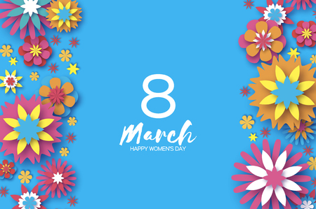 Illustration for Colorful 8 March. Happy Women's Day. Trendy Mother's Day. Paper cut Floral Greeting card. Origami flower.Space for Text. Spring blossom on sky blue. Seasonal holiday.Modern paper decoration. Vertical. - Royalty Free Image