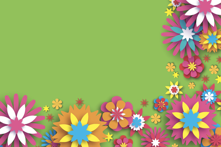 Illustration for Colorful Floral Card. Paper cut Flowers Border Composition. Origami Daisy Rose flower. Text. Spring Peony blossom. Seasonal holiday on green. Modern paper decoration. - Royalty Free Image