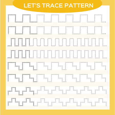 Illustration pour Tracing Lines Activity For Early Years. Special for preschool kids. Worksheet for practicing fine motor skills Tracing dashed lines. Improving skills tasks. Complete the pattern. Orange - image libre de droit