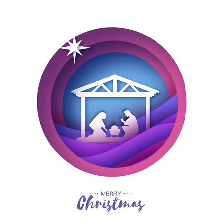 Illustration pour Birth of Christ. Baby Jesus in the manger. Holy Family. Magi. Star of Bethlehem - east comet. Nativity Christmas design in paper art style. Happy new year. Circle tunnel frame. Purple. - image libre de droit