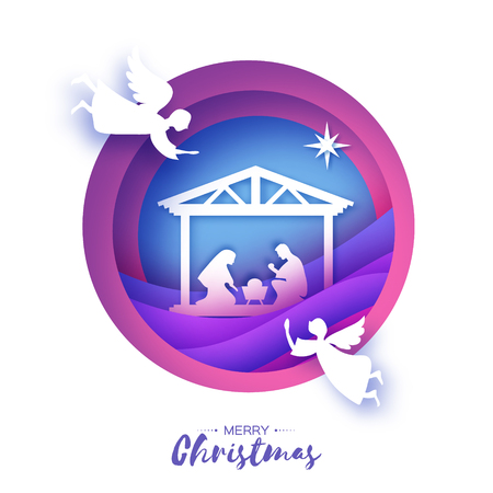 Illustration pour Birth of Christ. Baby Jesus in the manger. Holy Family. Magi. Angels. Star of Bethlehem - east comet. Nativity Christmas design in paper art style. Happy new year. Circle tunnel frame. Purple. Vector. - image libre de droit