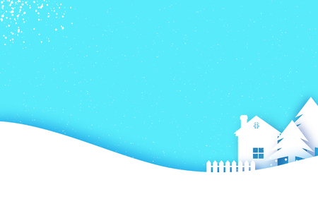 Illustration pour Merry Christmas and Happy New Year Greetings card. Origami Winter Snow Landscape Village with blue sky. City Urban Countryside with forest in paper cut style. Holidays. Vector. - image libre de droit