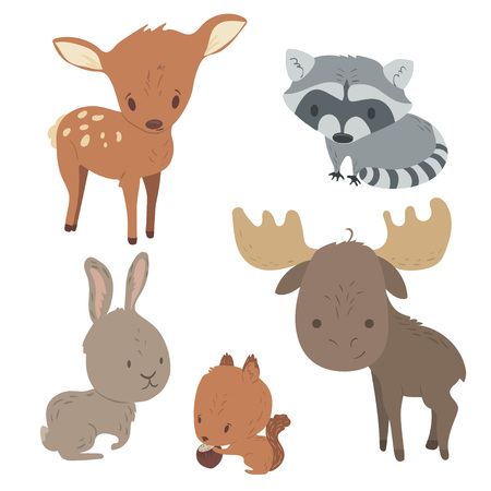 Illustration pour Forest animals vector set with isolated cartooning of deer, moose, raccoon, rabbit, squirrel. - image libre de droit